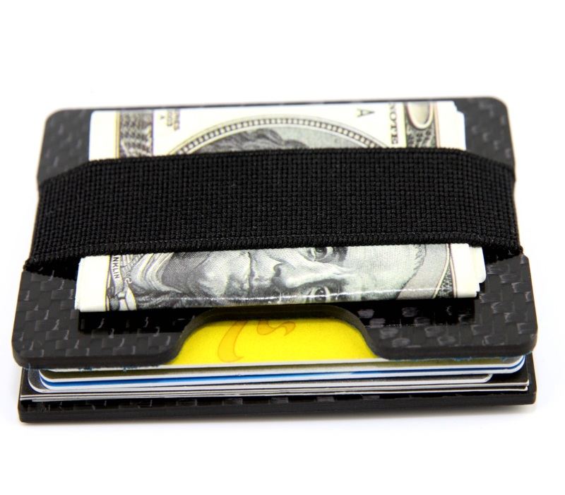 one_groove_black_carbon_card_holder_black_elastic_stripe_hold_cards_and_money