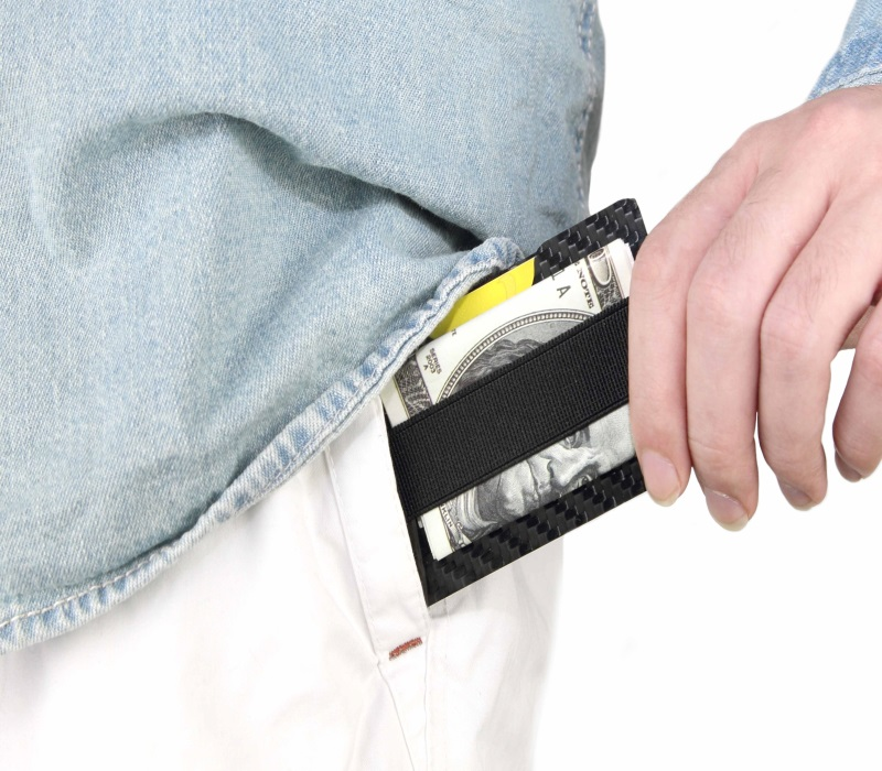 one_groove_black_carbon_card_holder_black_elastic_stripe_hold_cards_and_money_put_into_pant_pocket