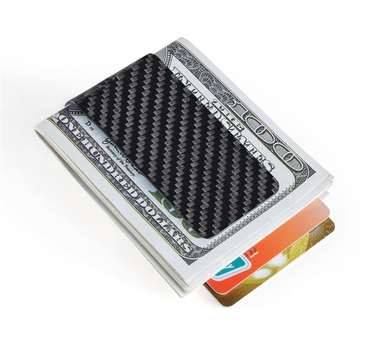 carbon fiber money clip glossy black - L