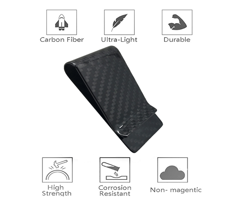 glossy-black-carbon-fiber-money-clip-features