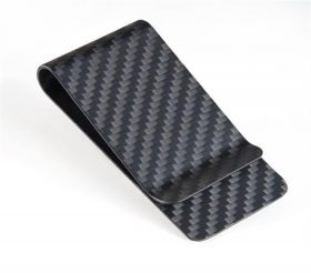 carbon fiber money clip matt black - L
