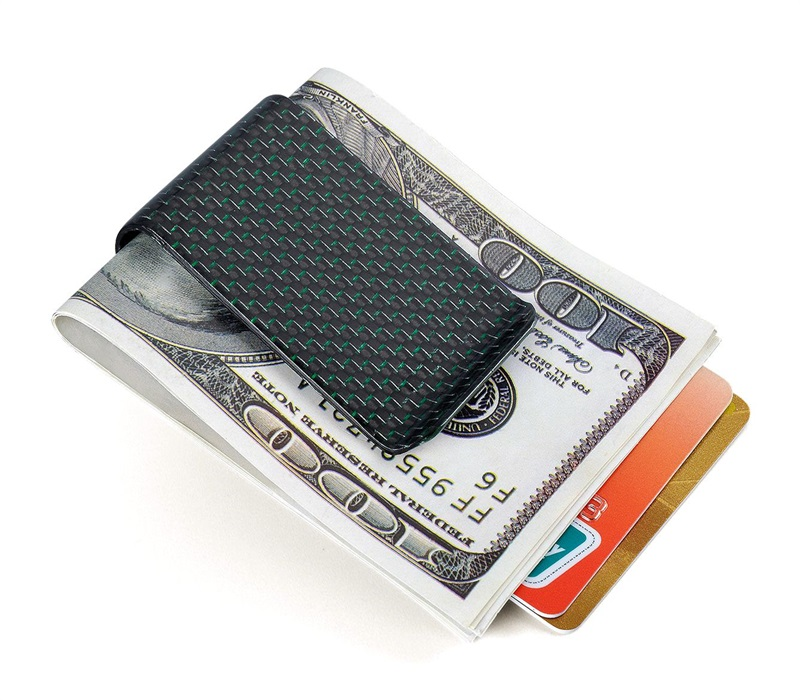carbon fiber money clip glossy green - L