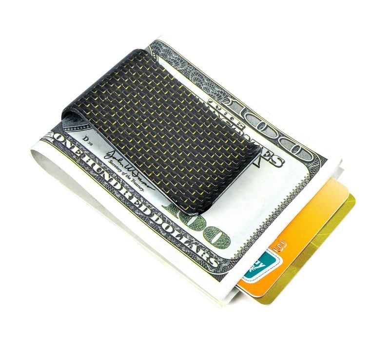 carbon fiber money clip glossy gold - L