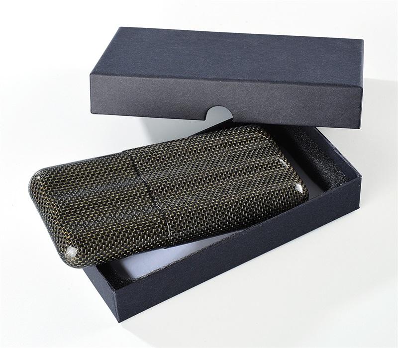 3tube cigar case glossy gold