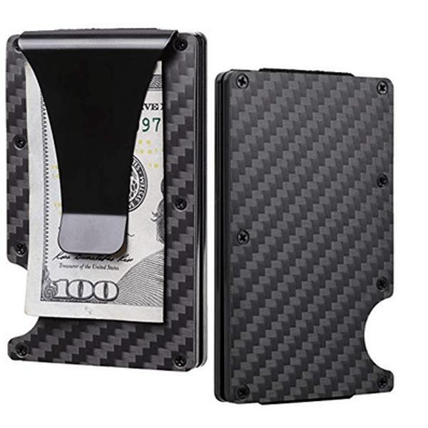 ec420266c87e Carbon Fiber Money Clip Wallet - Aluminum Credit Card Wallet RFID - Mens  Minimalist Slim Credit Card Holder - 2019 Upgraded Version